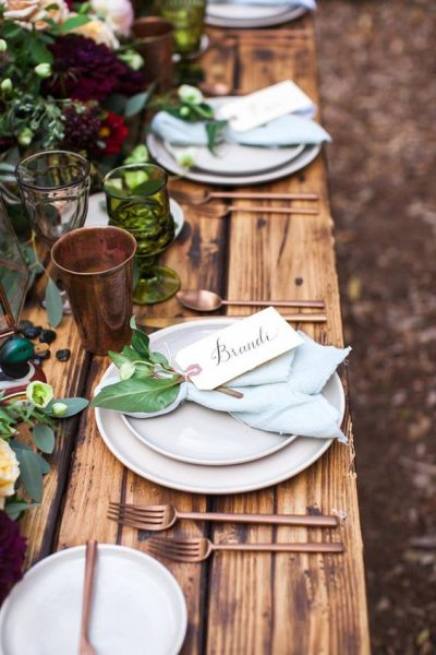 Copper Utensils for a rustic tablescape